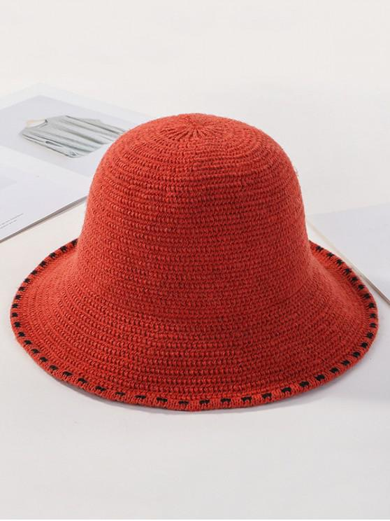 outfits Winter Solid Knitted Bucket Hat - TANGERINE