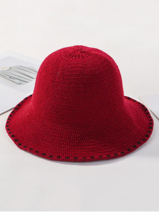 latest Winter Solid Knitted Bucket Hat - RED WINE