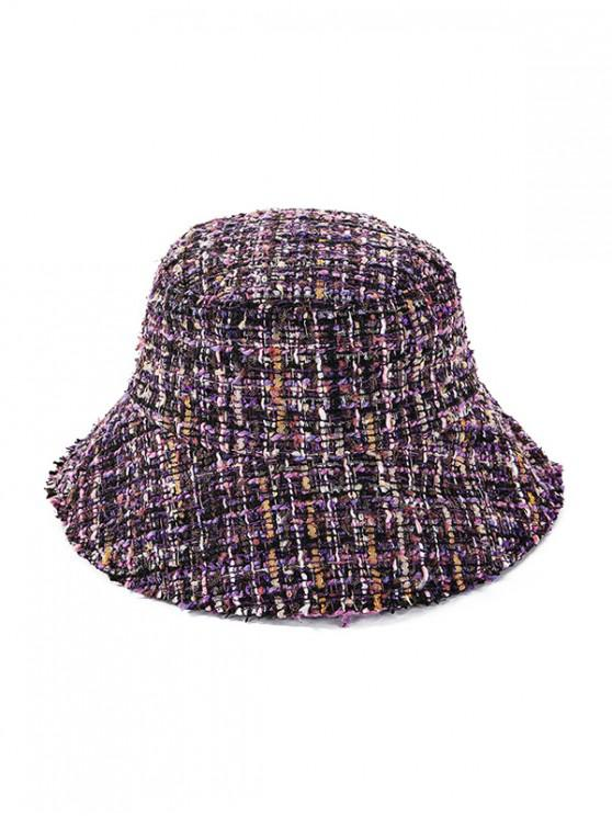 affordable Winter Plaid Bucket Hat - PURPLE
