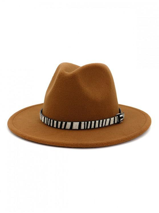 womens Winter Striped Belt Felt Fedoras - KHAKI