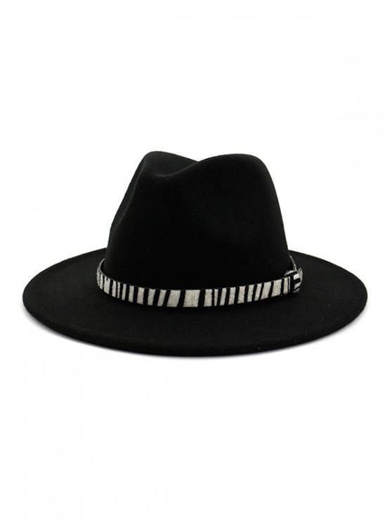 Chapeau Fedoras d'Hiver Rayé Ceinturé en Feutre - Noir