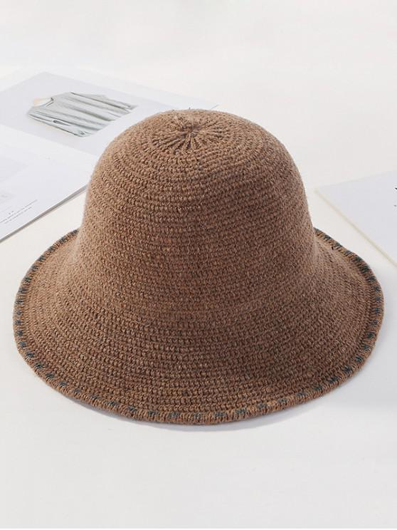 lady Winter Solid Knitted Bucket Hat - KHAKI