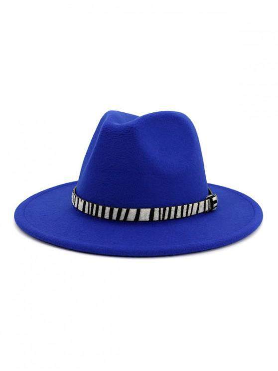 new Winter Striped Belt Felt Fedoras - BLUE