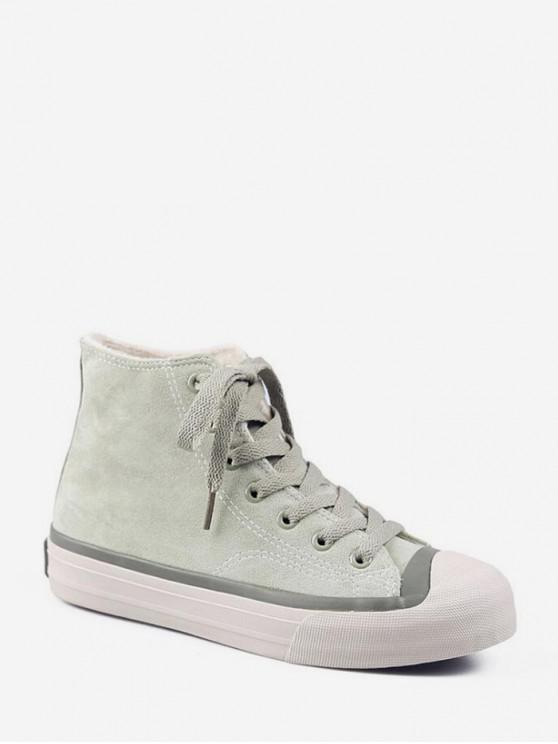 buy Casual High Top Fleece Suede Shoes - PALE BLUE LILY EU 38