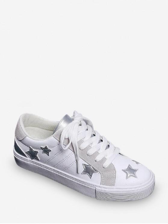 lady Star Applique Low Top Casual Shoes - SILVER EU 37