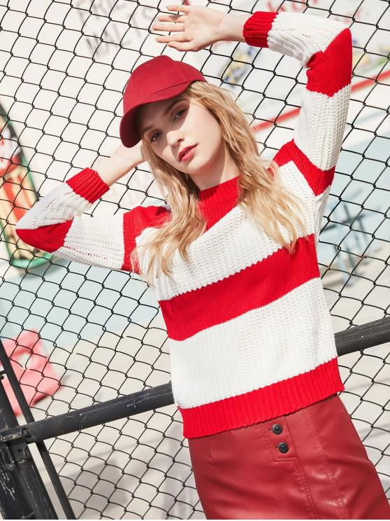 latest Crew Neck Colorblock Stripes Jumper Sweater - RED ONE SIZE