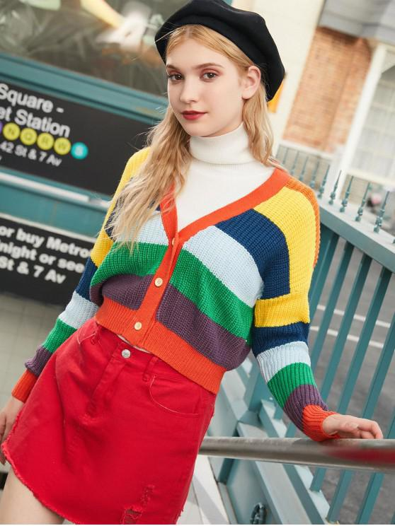 sale ZAFUL V Neck Button Up Rainbow Stripes Cardigan - MULTI L