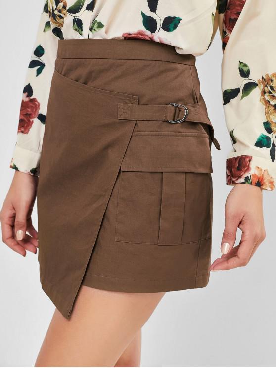 shop ZAFUL D-ring Foldover Skirt - OAK BROWN M
