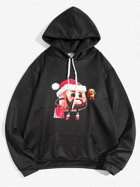 unique Cartoon Christmas Printed Hoodie - BLACK 2XL