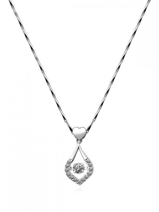 lady Heart Water Drop Rhinestone Necklace - SILVER
