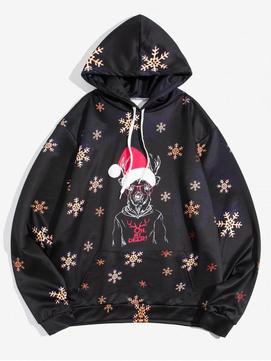 women's Christmas Deer Snowflake Hoodie - BLACK S