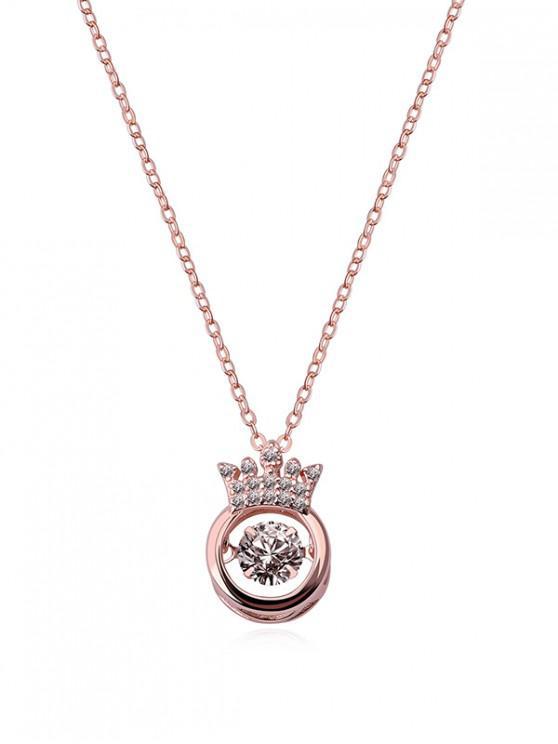 trendy Hollow Crown Zircon Pendant Necklace - ROSE GOLD CROWN
