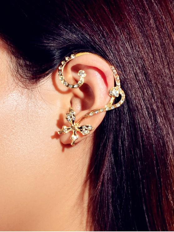 ไม่สมมาตรผีเสื้อ Rhinestone Stud Earrings - ทอง
