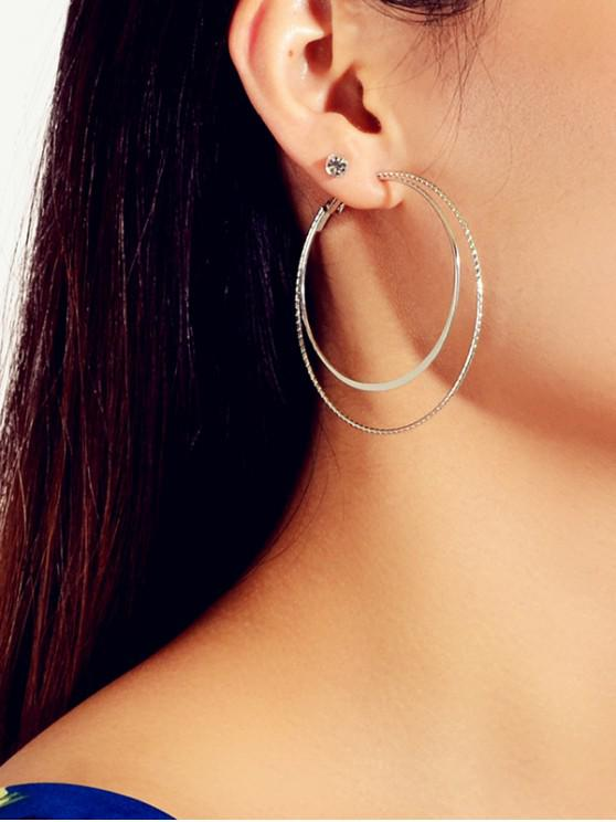 fashion 6Pairs Double Circle Rhinestone Earrings Set - GOLD