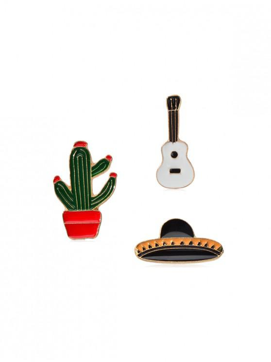 latest 3Pcs Cartoon Hat Cactus Brooch Set - MEDIUM FOREST GREEN