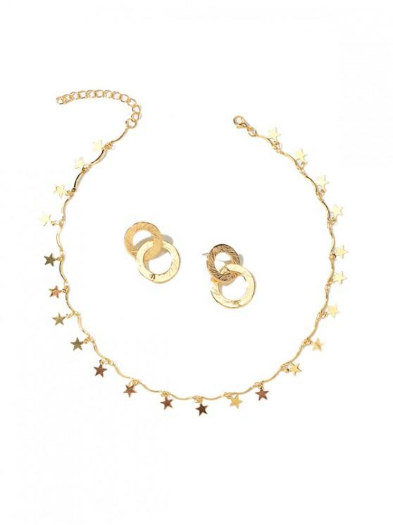 trendy Circle Star Necklace Earrings Set - GOLD