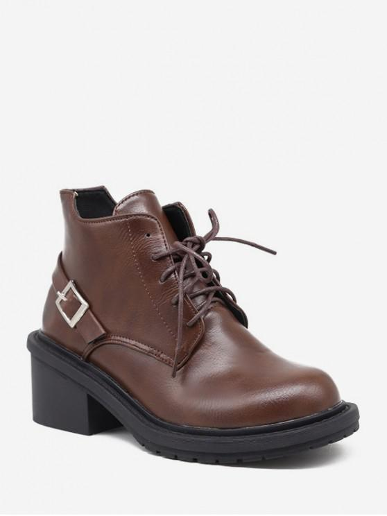 fancy Mid Block Heel Lace Up Ankle Boots - BROWN EU 38