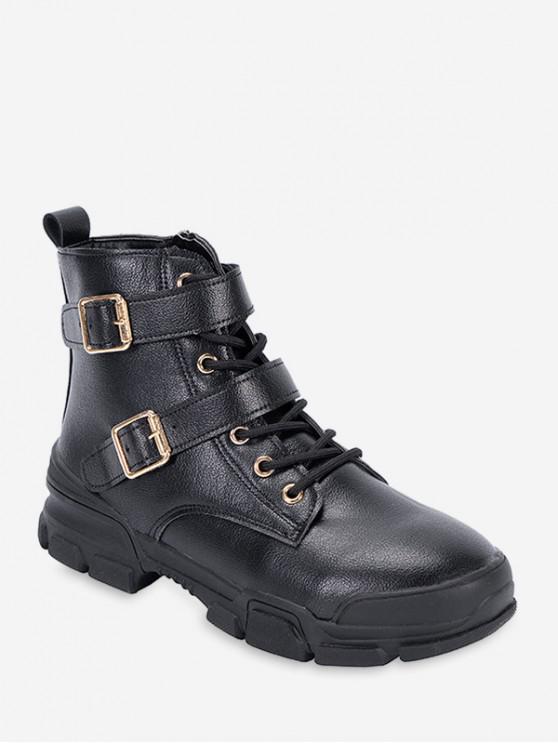 unique Dual Buckle Mid Heel Short Boots - BLACK EU 39