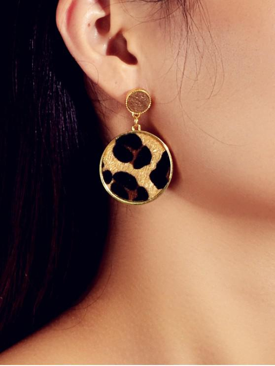 womens Leopard Round Faux Fur Drop Earrings - GOLD