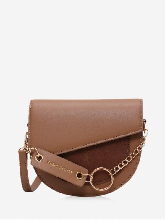 women Circle Chain Flap Semicircle Crossbody Bag - KHAKI