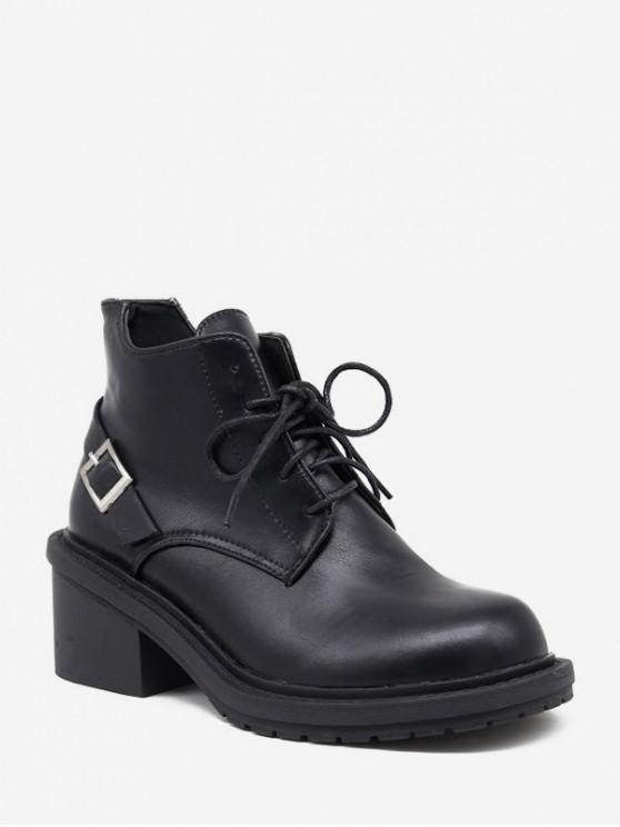 outfit Mid Block Heel Lace Up Ankle Boots - BLACK EU 35