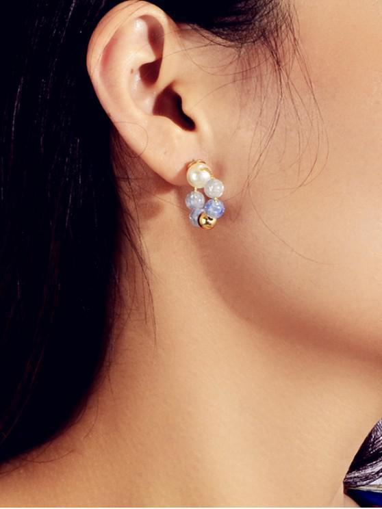 圈人造珍珠串珠耳環 - 矢車菊藍色