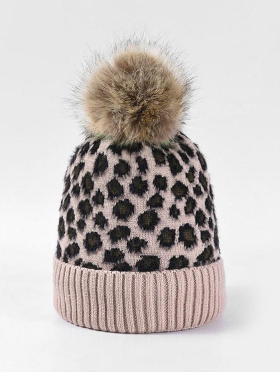 latest Leopard Fleece Knitted Bobble Hat - PINK
