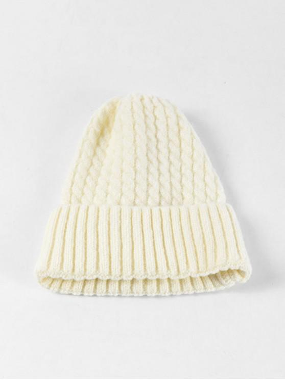 fashion Braid Turn Up Edge Knitted Hat - WHITE