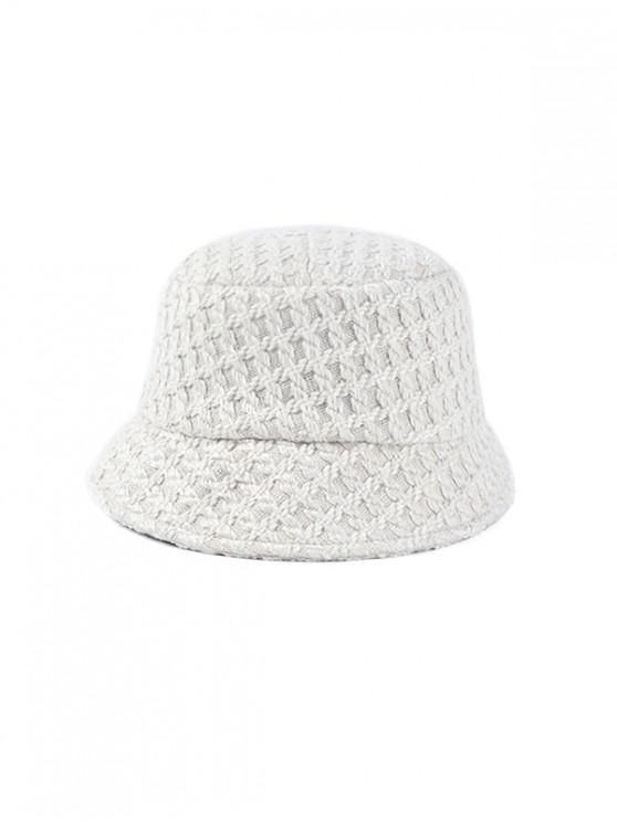 chic Bucket Weaving Hat - WHITE