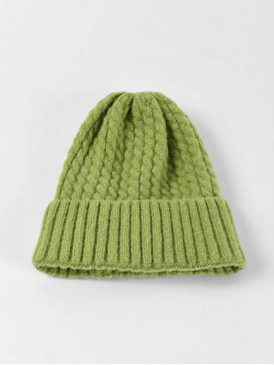 affordable Braid Turn Up Edge Knitted Hat - PISTACHIO GREEN