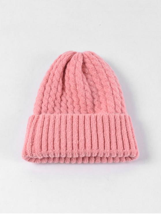 ladies Braid Turn Up Edge Knitted Hat - PINK