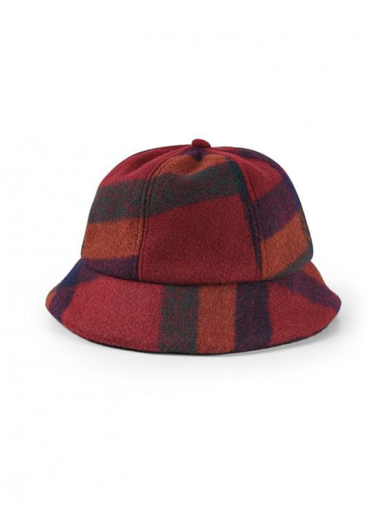 lady Plaid Pattern Felt Bucket Hat - RED