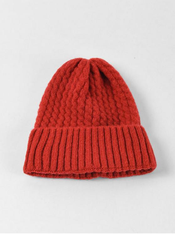 online Braid Turn Up Edge Knitted Hat - RED