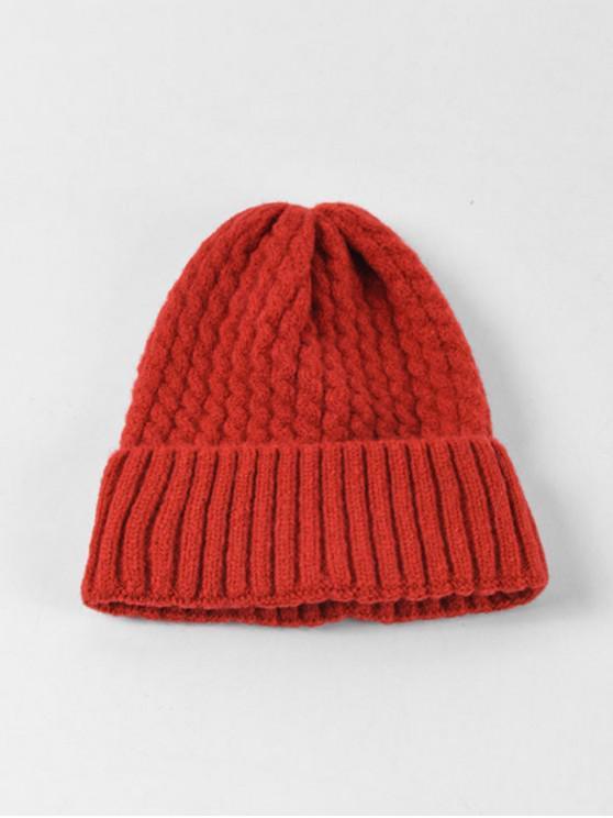 Chapeau d'Hiver Tressé à Ourlet Roulé - Rouge