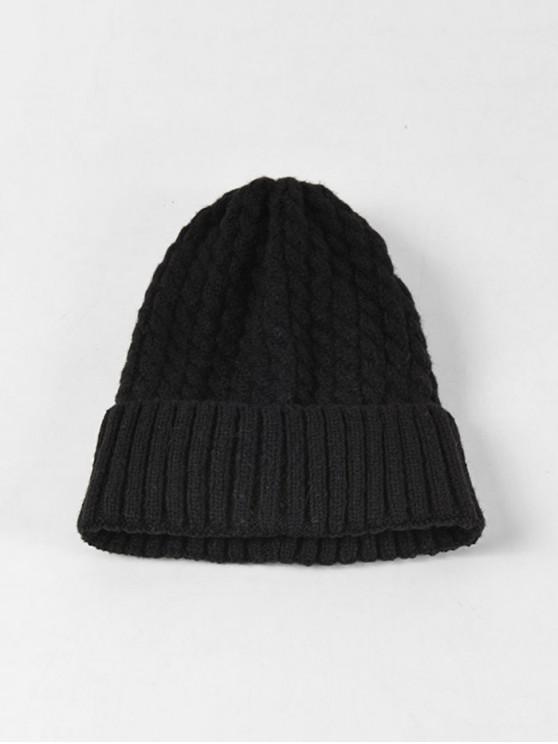 Chapeau d'Hiver Tressé à Ourlet Roulé - Noir
