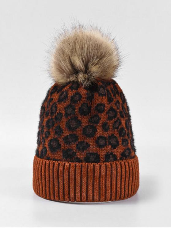 latest Leopard Fleece Knitted Bobble Hat - CARAMEL