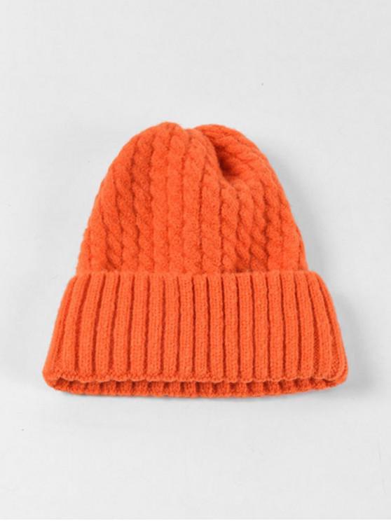 fancy Braid Turn Up Edge Knitted Hat - PAPAYA ORANGE