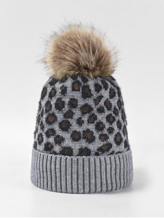 women's Leopard Fleece Knitted Bobble Hat - GRAY
