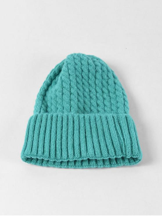 fashion Braid Turn Up Edge Knitted Hat - MACAW BLUE GREEN