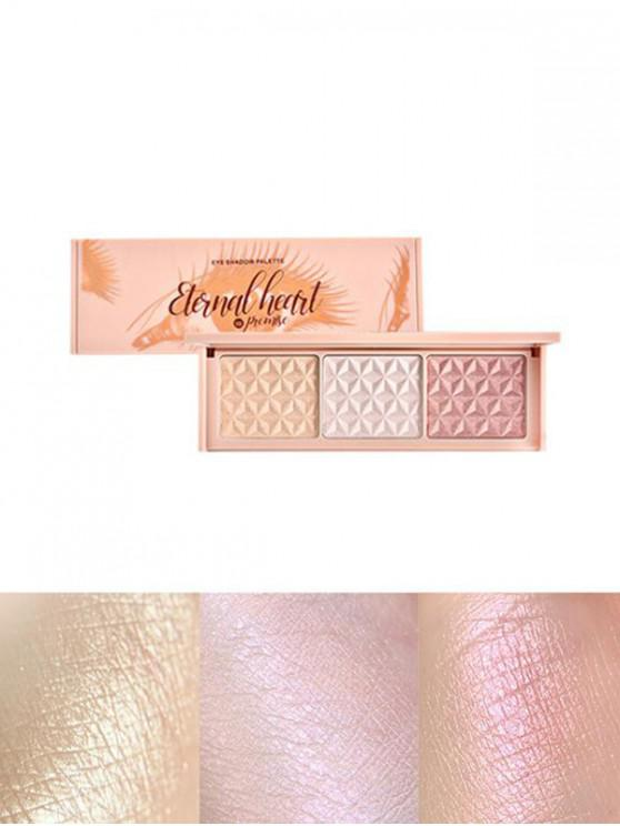 women 3 Colors Glitter Highlight Eyeshadow Palette - MULTI-A