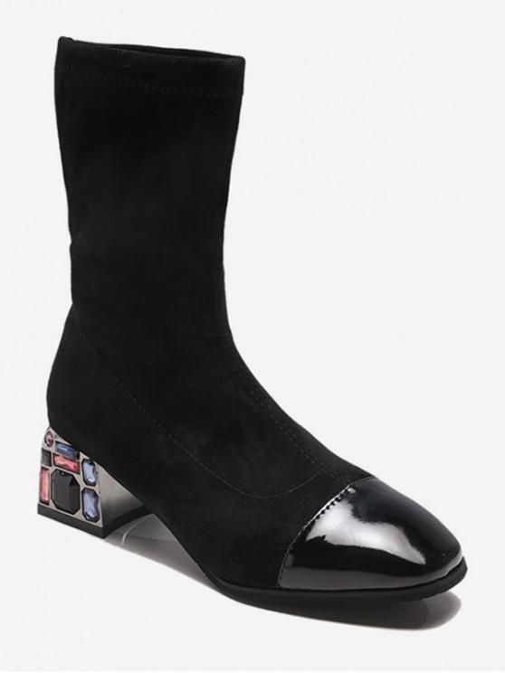 trendy Rhinestone Chunky Heel Suede Mid Calf Boots - BLACK EU 35