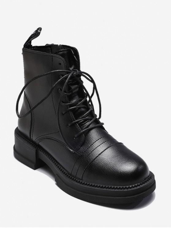 outfit Mid Chunky Heel PU Leather Cargo Boots - BLACK EU 38