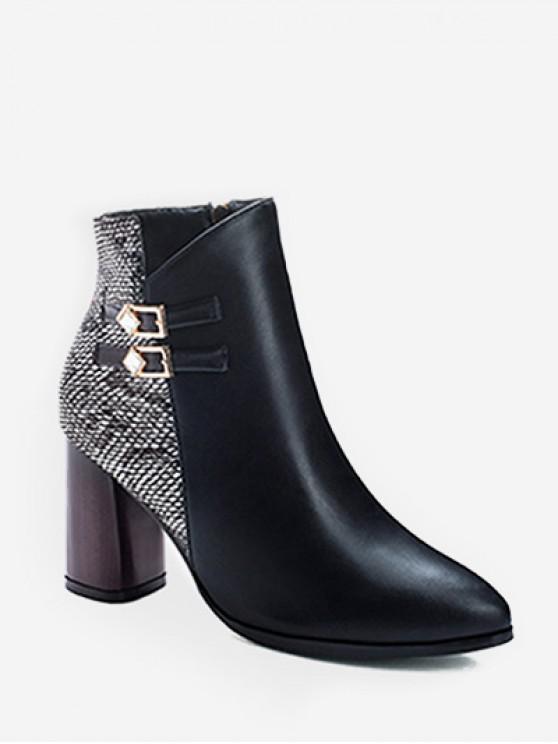 shops Snakeskin Panel Chunky Heel Pointed Toe Boots - WHITE EU 36