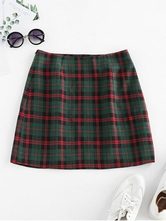 unique ZAFUL Plaid Print High Waisted Mini Skirt - MULTI-A M