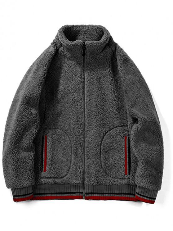 chic Contrast Trim Raglan Sleeve Faux Fur Fluffy Jacket - CARBON GRAY L