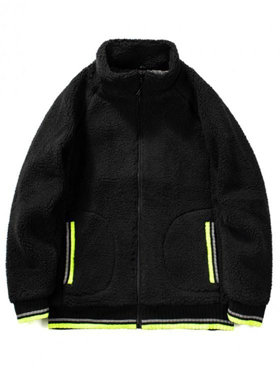 fancy Contrast Trim Raglan Sleeve Faux Fur Fluffy Jacket - JET BLACK S