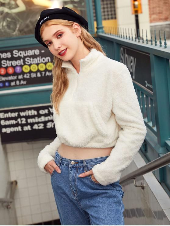 Sweat-shirt Fourré à Demi-Zip avec Poche en Avant - Blanc Chaud S
