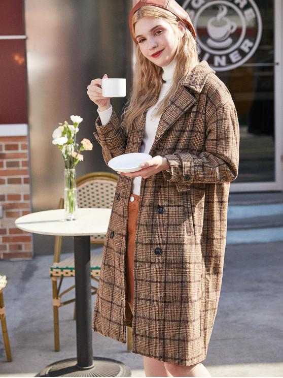 trendy Plaid Lapel Pocket Longline Coat - MULTI-A M