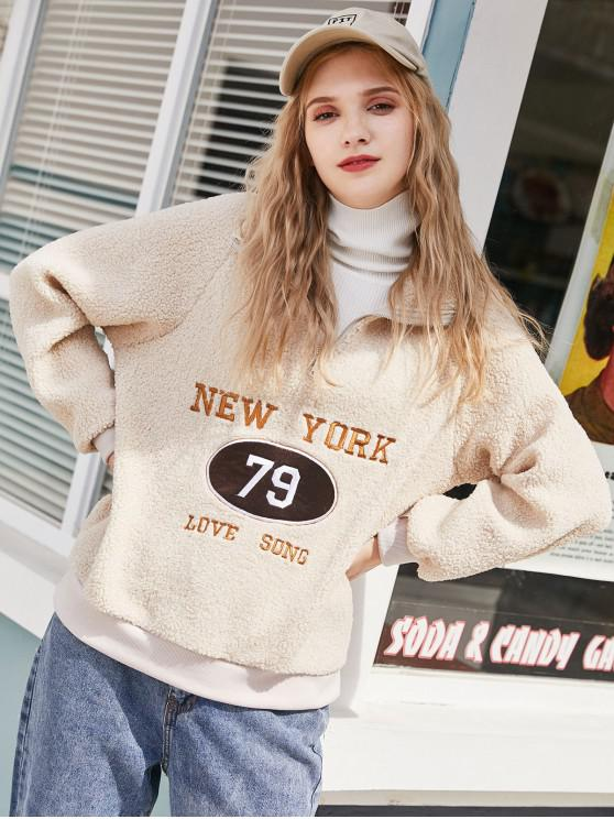 affordable Letter Embroidered Raglan Sleeve Quarter Zip Teddy Sweatshirt - WARM WHITE ONE SIZE