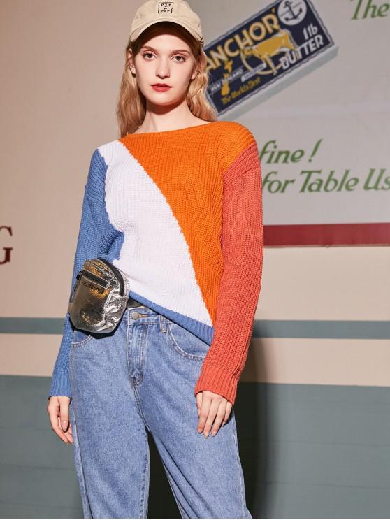 shop Button Up Colorblock Convertible Cardigan - MULTI S